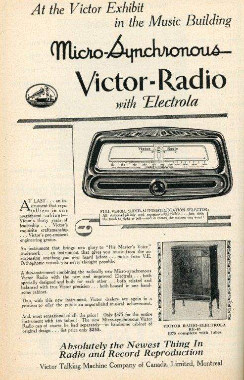 Ad For Victor Radio In 1929 CNE Programme