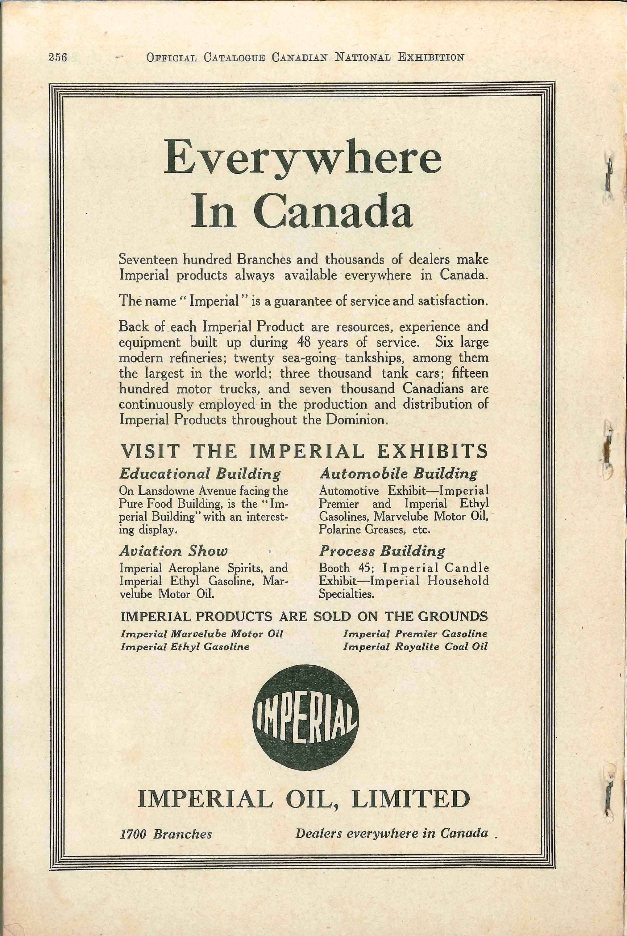 Imperial Oil Ad; CNE Programme 1929