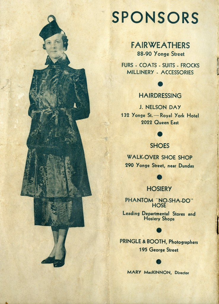 Sponsors In The 1935 CNE Fashion Show Programme