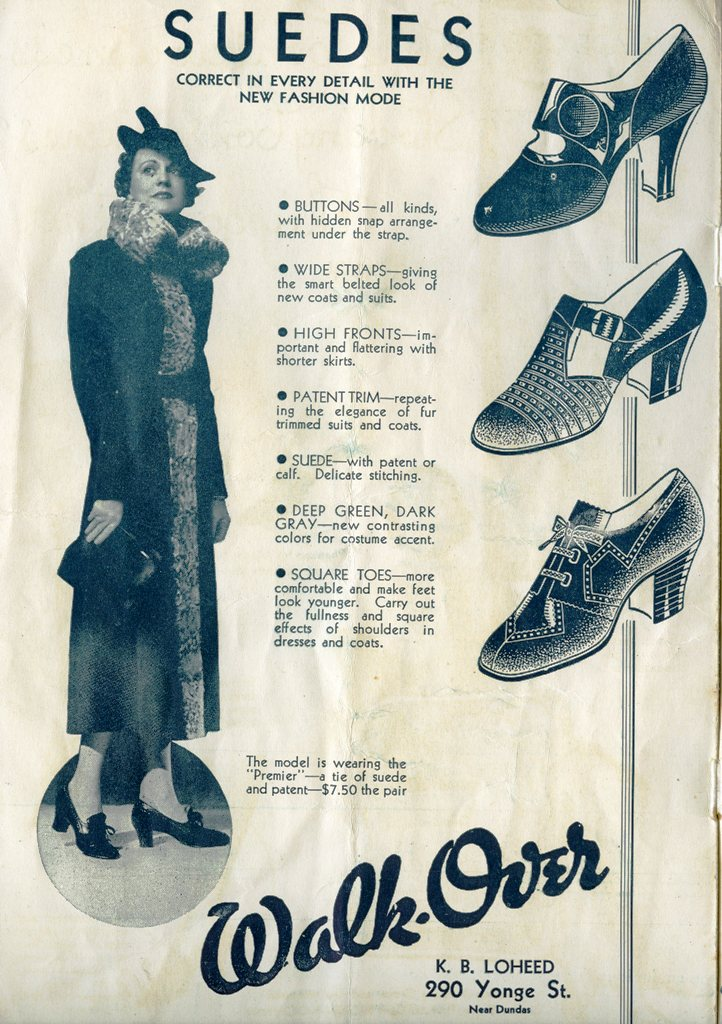 Suede Shoe Ad In 1935 CNE Fashion Show Programme