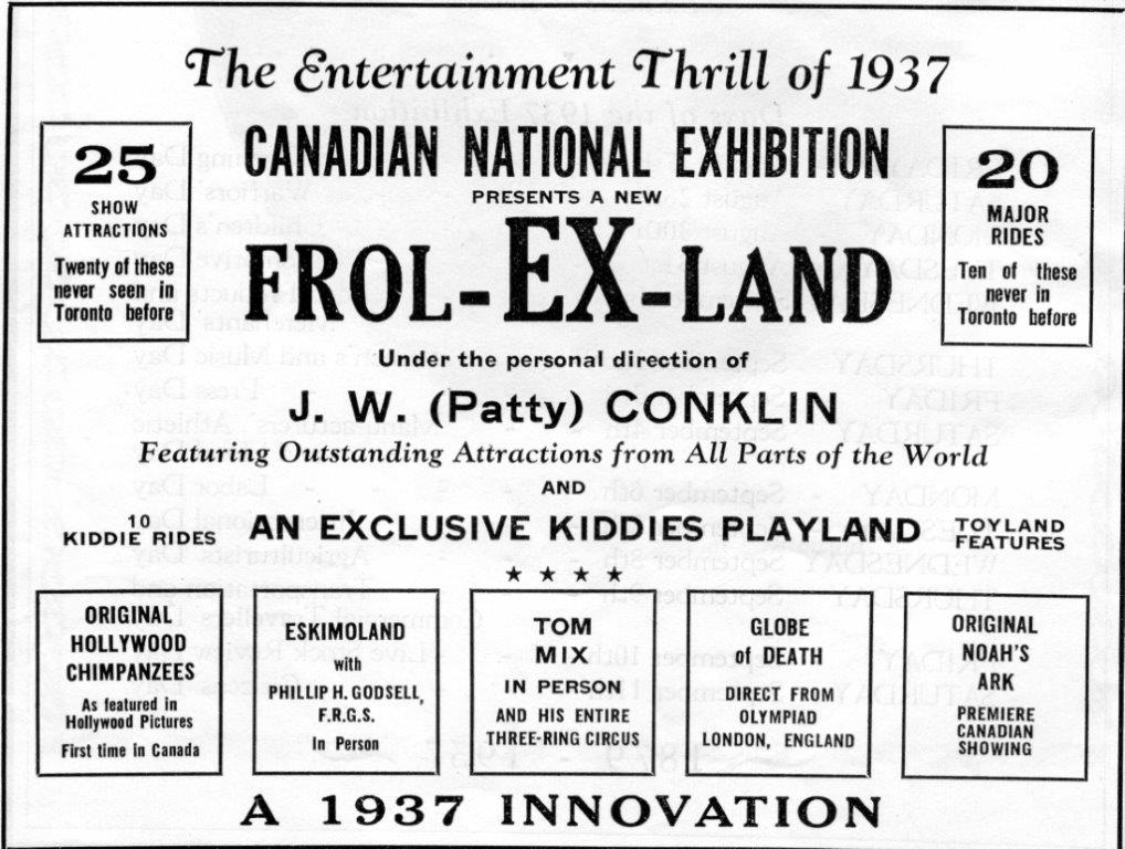 Conklin Ad In CNE Programme, 1937