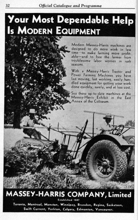 Massey Harris Ad In CNE Programme, 1935