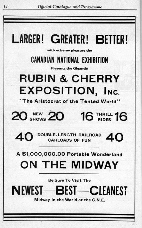 Rubin  and  Cherry Ad In CNE Programme, 1935