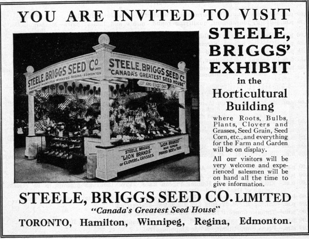 Steele, Briggs Seed Co. Ad In CNE Programme, 1935