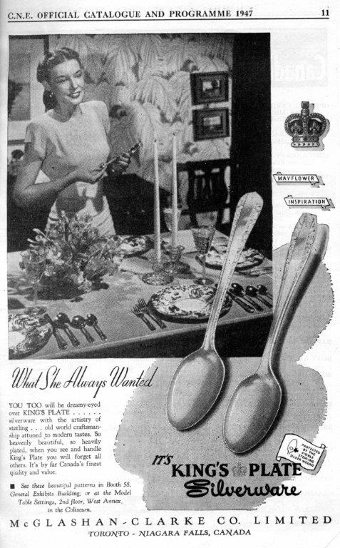 Kings Plate Silverware Ad In CNE Programme,1947