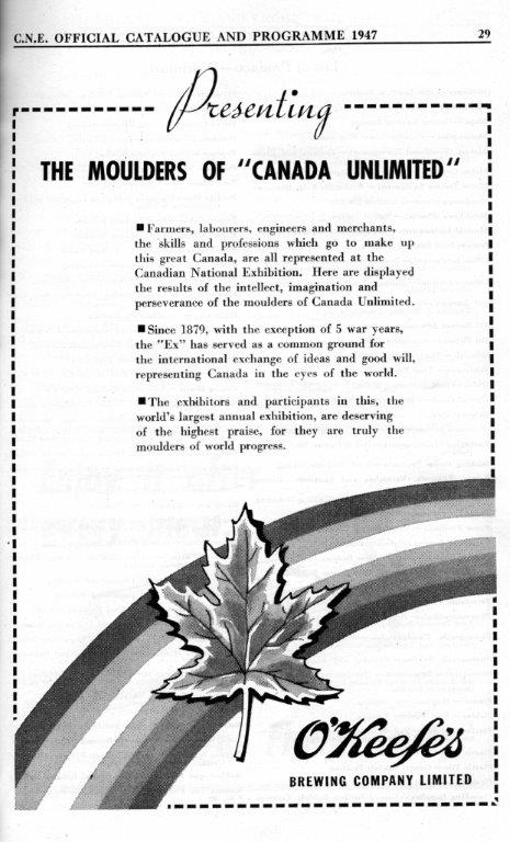 O'Keefe's Brewery Ad In CNE Programme, 1947