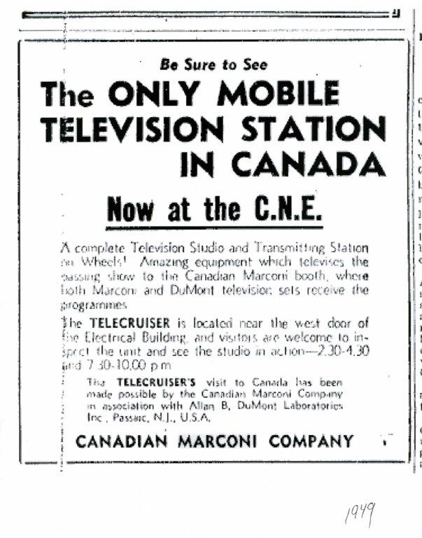 Advertisement For Mobile TV Station, 1949