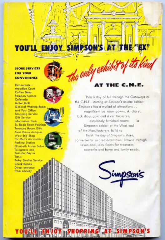 Simpson's Ad In 1957 CNE Programme