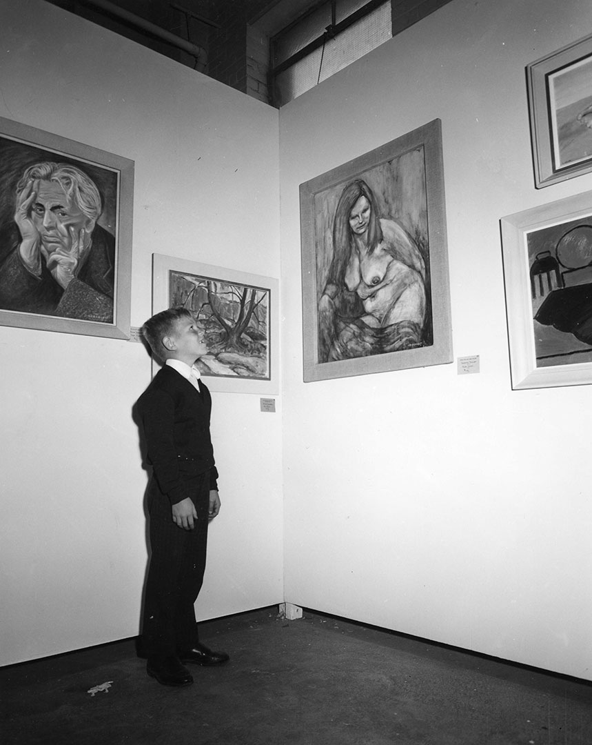 CNE Visitor Admiring The Art, 1952