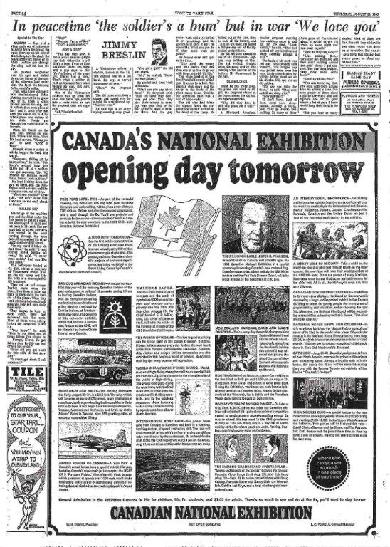 CNE Opening Day Ad In The Toronto Daily Star, 1965