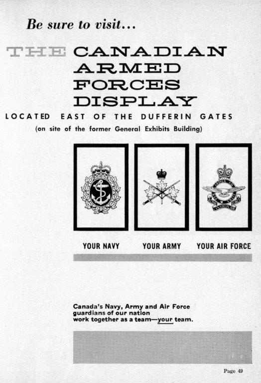 Canadian Forces Ad In CNE Programme, 1962