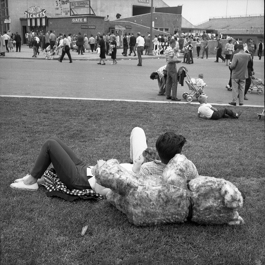 Boy  and  Girl Cuddle With Bear At The 1963 CNE