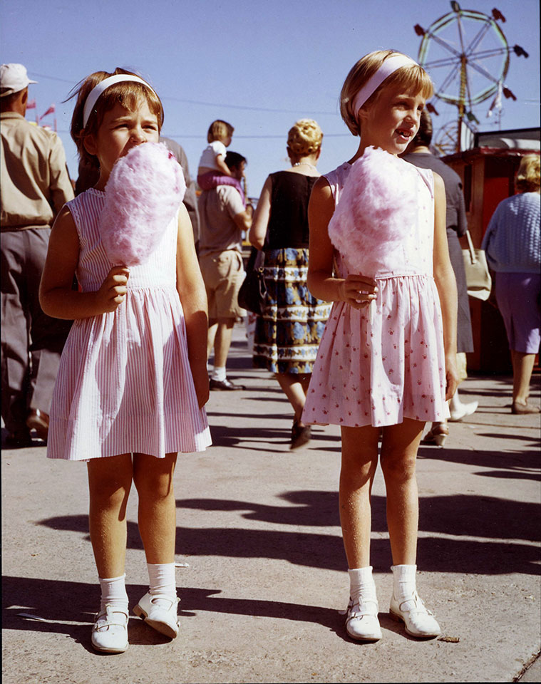 Girls In Pink Dresses Enjoying CNE Pink Cotton Candy, ca. 1960s